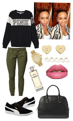 """Pink"" by dianelovett ❤ liked on Polyvore featuring Victoria's Secret PINK, Puma, Michael Kors, ASOS, Yves Saint Laurent, Furla and Chanel"