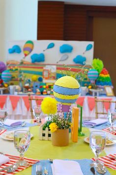 Centerpiece from an Oh the Places You'll Go Dr. Seuss Party via Kara's Party Ideas | KarasPartyIdeas.com (20)