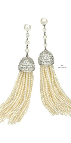 Ivanka Trump Seed Pearl & Diamond Tassel Earrings