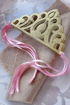 Pink and Gold Birthday Party Princess Crown Favors