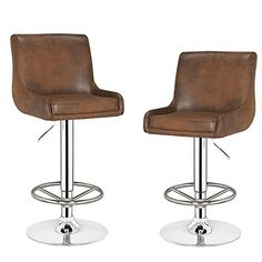 Joveco Classic Modern Faux Leather Barstool, 360 Degree Swivel, Chrome Base, Set of 2 (Vintage Brown)