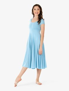 This short sleeve dress by Natalie features empire seaming, six gore paneled skirt, and an attached leotard. Lyrical Dance Dresses, Dance Outfits, Dress Robes, Costume Dress, Cosplay Costumes, Victorian Ball Gowns, Cute Dance Costumes, Contemporary Dance Costumes, Short Sleeve Dresses
