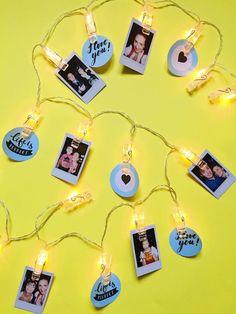 Foto Lichterkette basteln – persönliches DIY Geschenk. Schöne Lichterkette mit Bildern für ein Pegboard basteln. Schnell und einfach selber machen. #pegboard #pinnwand #homeoffice #schreibtisch #gitter #deko