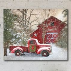 christmas scenes Courtside Market Barn With Truck X Canvas Wall Art Multi Christmas Red Truck, Country Christmas, Vintage Christmas, Merry Christmas, Christmas Time, Christmas Ideas, Winter Christmas Scenes, Christmas Wall Art, Christmas Background