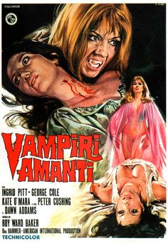 The Vampire Lovers is a 1970 British gothic horror film directed by Roy Ward Baker. It was produced by Hammer Film Productions and American International Pictures. The plot is loosely based on … Horror Vintage, Retro Horror, Hammer Horror Films, Hammer Films, Hammer Movie, Horror Movie Posters, Cinema Posters, Francois Truffaut, Classic Horror Movies