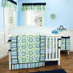 Trend Lab Waverly Solar Flair Crib Bedding Set, Blue/Green, 3 Count