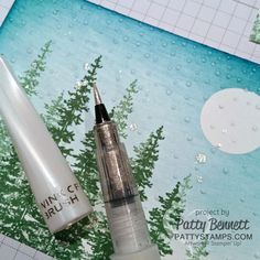 Create an easy and beautiful snow splatter by flicking your Wink of Stella pen onto your handmade card, by Patty Bennett