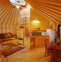A Yurt Interior Interior  I like darker wood myself, but...it's a yurt!