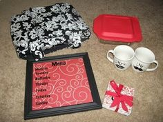 Great homemade housewarming/newlywed gift set: Insulated casserole dish cover, Weekly Menu, Pyrex with a name or monogram etched in it, Mr and Mrs coffee cups, and monogrammed coasters.