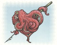 If I got an octopus like this as a tattoo I'd probably replace the spear with something a little more meaningful to me. And if you look at it the octopus looks like a heart! Octopus Hearts, Red Octopus, Tattoo Drawings, Art Drawings, Sick Drawings, Le Kraken, Kraken Art, Octopus Tattoos, Small Octopus Tattoo