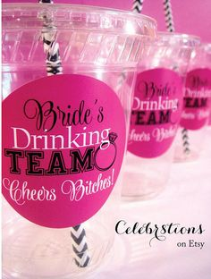 Bachelorette Party Cups with Label Kit DIY  by Celebr8tions, $6.90 @tkm7551 not sure why I can't tag your sister but these are awesome!! LOL