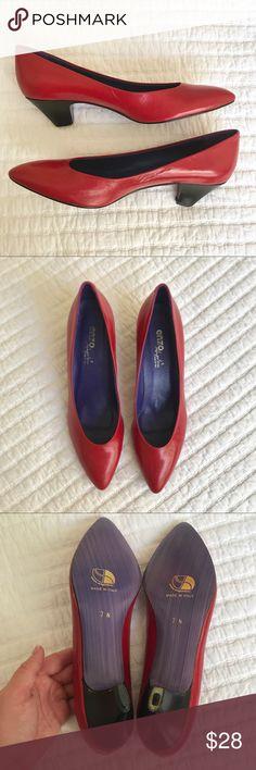 34b194068ec7 Vtg LIKE NEW Enzo Angiolini Red Pumps 7 Narrow Cute sassy red heels! Kitten  heel