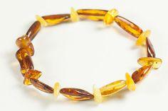 Natural Baltic amber bracelet. Polished amber beads.