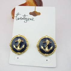 Fashion Anchor Stud Earring, I have some vintage buttons with anchors on them, they would make cute earrings!