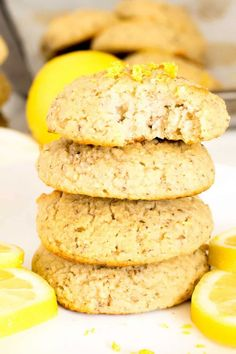 These oil free Vegan Lemon Cookies are soft and chewy inside and slightly crisp outside. These are easy, fast and filled with zesty flavors in every bite. It's a perfect dessert to satisfy sweet cravings in a healthier way and at all ages | kiipfit.com Eggless Cookie Recipes, No Dairy Recipes, Healthy Dessert Recipes, Fun Desserts, Yummy Recipes, Delicious Desserts, Vegan Recipes, Yummy Food, Healthy Vegan Cookies