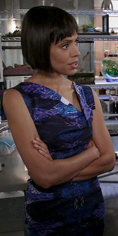 Camille's blue and purple printed dress with asymmetrical neckline on Bones.  Outfit Details: http://wornontv.net/22738/ #Bones