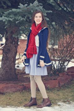 this look from the ModCloth Style Gallery! Cutest community ever. Nerd Fashion, Sailor Fashion, 90s Fashion, Vintage Fashion, Fashion Outfits, Fashion Trends, Chambray Skirt, Patterned Tights, Hipster Outfits
