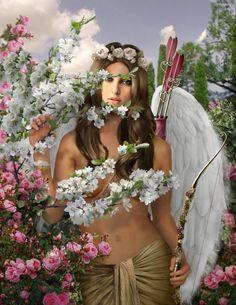 Foto montaje con Cupido alado para personalizar gratis.