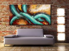 Original MADE TO ORDER Abstract Painting Modern Textured 48x24 Canvas Acrylic Teal Red Fine Art by Federico Farias