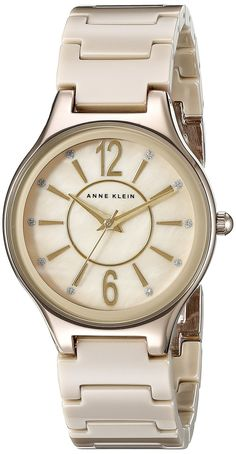 Anne Klein Women's AK/2182TNGB Glitter Accented Gold-Tone and Tan Ceramic Bracelet Watch -- Want to know more, click on the image.