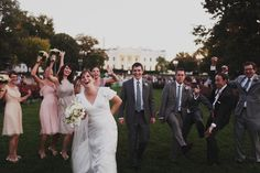 """A non-strapless wedding dress, mismatched bridesmaids AND mismatched groomsmen, crazy-fun wedding party portraits."" --Capitol Romance.  Luke Eshleman Photography"