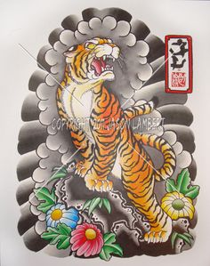 Japanese Embroidery Tiger loved the body and the background in general (minus the flowers).but the head seems a little too bugged out to me Japanese Tiger Tattoo, Japanese Tattoos For Men, Japanese Tattoo Designs, Japanese Sleeve Tattoos, Element Tattoo, Traditional Tiger Tattoo, Traditional Japanese Tattoos, Tiger Tattoo Images, Tiger Tattoodesign
