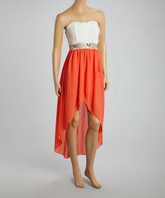 Loving this BLVD Ivory & Coral Sparkle Waist Hi-Low Dress on #zulily! #zulilyfinds