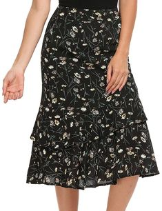 Zeagoo Women's Bohemian Style High Waist Floral Print Slim Ruffles Midi Mermaid Summer Skirt - best woman's fashion products designed to provide All Fashion, Fashion Brands, Fashion Outfits, Womens Fashion, Summer Skirts, Summer Outfits, Women's Skirts, Beach Maxi Skirt, Dress Me Up