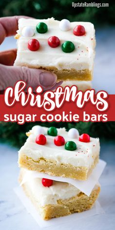 These Sugar Cookie Bars are some of the easiest and tastiest cookies you can make! They are soft and chewy and topped off with a thick layer of sweet frosting and sprinkles. These cookies are easy to decorate for any occasion - or to just enjoy for a sim Sugar Cookie Bars, Easy Sugar Cookies, Christmas Sugar Cookies, Sugar Cookies Recipe, Yummy Cookies, Christmas Sprinkles, Easy Holiday Desserts, Holiday Baking, Christmas Baking