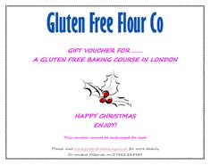 A great present for a gluten free friend! Available to buy here - http://shop.glutenfreebaking.co.uk/collections/gifts/products/gift-voucher-for-gluten-free-baking-course-in-london We also run gluten free baking courses in Harrogate and The Wirral