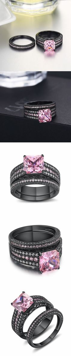 Lajerrio Jewelry Asscher Cut Pink Sapphire Black S925 Ring Sets