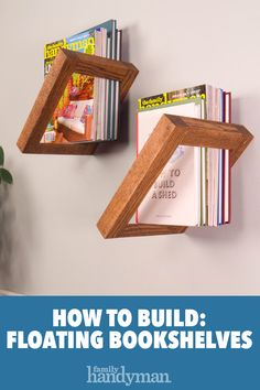 How to Build DIY Floating Bookshelves - WoodWorking Diy Wood Projects, Home Projects, Woodworking Projects, Woodworking Techniques, Woodworking Furniture, Woodworking Bench, Floating Bookshelves, Creative Bookshelves, Wood Bookshelves