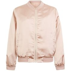 Cameo Rose Shell Pink Satin Bomber Jacket ($37) ❤ liked on Polyvore featuring outerwear, jackets, shell pink, blouson jacket, distressed jacket, high neck jacket, satin jacket e pink jacket