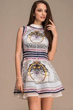Vintage A-lined Sleeveless Dress OASAP.com
