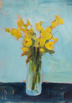 Flower painting, acrylic painting, yellow flowers, blue art, blue and yellow