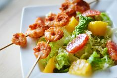 Napa cabbage salad with oranges, spicy shrimp, and rice wine vinaigrette