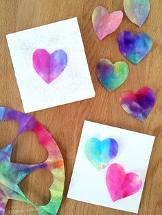 Quick and Easy Watercolor heart art – fun Valentine's project. – Valentine's Day Valentines Bricolage, Valentine Crafts For Kids, Valentines Day Activities, Funny Valentine, Holiday Crafts, Valentine Cards, Printable Valentine, Homemade Valentines, Valentines Crafts For Kindergarten