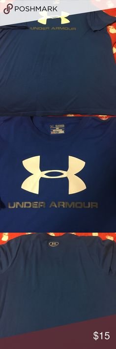 Blue Under Armour Shirt Blue Under Armour shirt. There is one spot on the front that I hardly noticeable. SIze 2XL loose heat gear shirt Shirts Tees - Short Sleeve