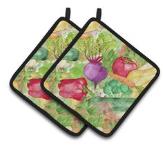 Watercolor Vegetables Farm to Table Pair of Pot Holders BB7572PTHD