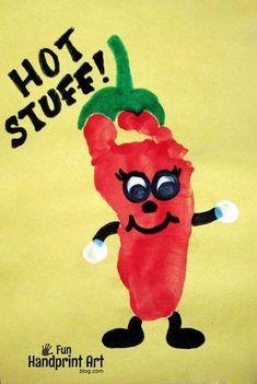 Cinco de Mayo Craft for Kids: Footprint Chili Pepper - Fun Handprint Art Kids Crafts, Daycare Crafts, Classroom Crafts, Baby Crafts, Toddler Crafts, Crafts To Do, Projects For Kids, Crafts With Babies, Infant Crafts