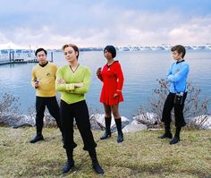 "Classic ""Star Trek"" Cosplay With Femme Kirk And Bones"