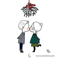 Illustration du reveillon. Bonne année sous le gui - vêtements pour enfants made in France - by Cécotine