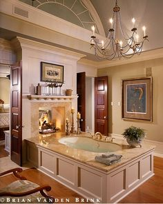 Master Bathroom - Island tub with see-through fireplace open to Master Suite. Modern Luxury Bathroom, Luxury Master Bathrooms, Bathroom Design Luxury, Dream Bathrooms, Beautiful Bathrooms, Bathroom Designs, Open Bathroom, Shower Bathroom, Family Bathroom
