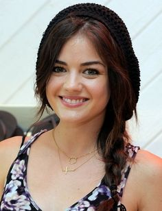 When in doubt, grab a hat! Lucy Hale's crocheted snood hides a myriad of blatant signs of unstyled hair. And look: Another braid!