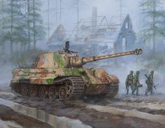 Painting of World War II German King Tiger tank in the Battle of the Bulge 1944 offering a ride to German fallschirmjager paratroopers. WW2 panzer paintings in oil series.