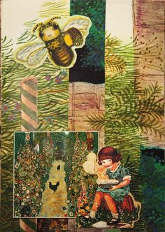 Recycled material. Garden, bee and a girl.