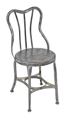 """early 20th century american industrial pressed and folded riveted joint all-metal """"perfection"""" soda fountain or druggist chair with fanciful curved backrest"""