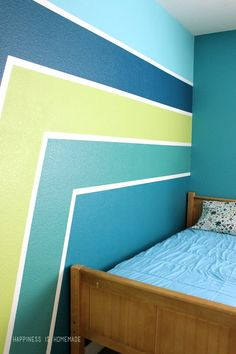 Boys Bedroom: Graphic Racing Stripes Painted Accent Wall Boys Bedroom Wall with Racing Stripes – get PERFECT crisp clean lines with Frog Tape Textured Surface tape! Bedroom Paint Design, Boys Bedroom Paint, Bedroom Wall Designs, Accent Wall Bedroom, Bedroom Paint Colors, Bedroom Ideas, Bedroom Girls, Striped Accent Walls, Green Accent Walls