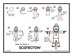 Download and print step by steps. how to draw a scarecrow: