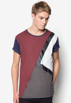 96d91899af5 Coated Print Color Blocking Tee from 24 01 in black 1 Tee Online